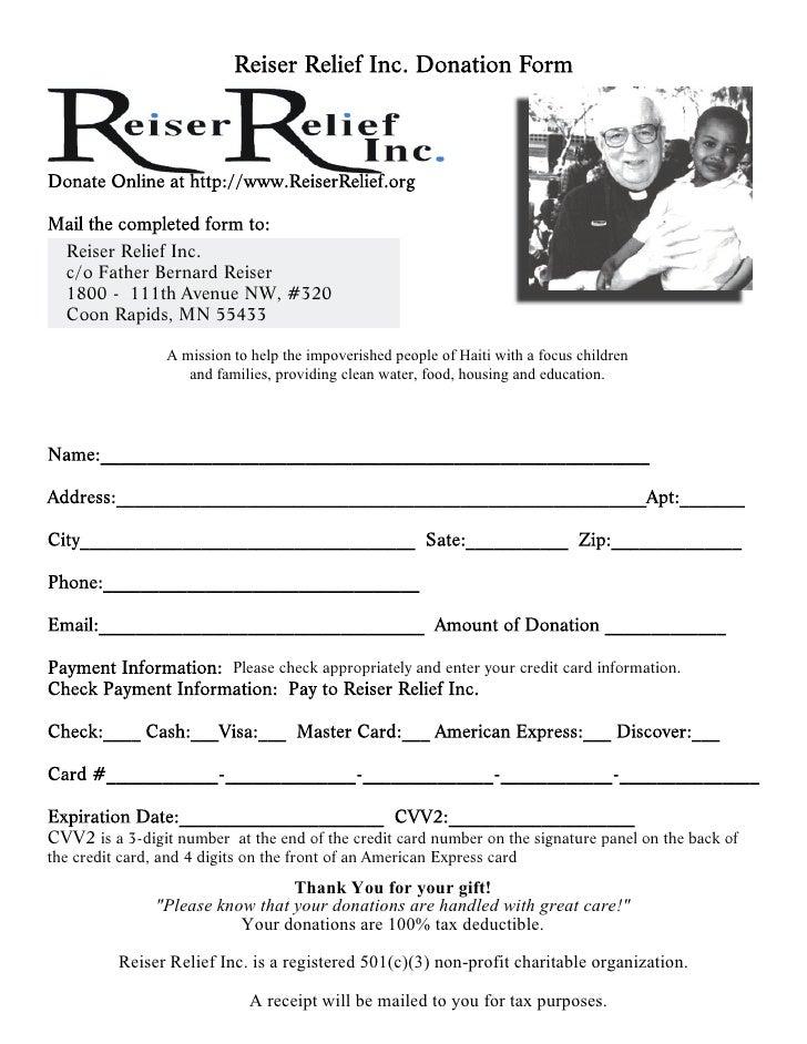 Reiser Relief Inc.   c/o Father Bernard Reiser   1800 - 111th Avenue NW, #320   Coon Rapids, MN 55433                   A ...