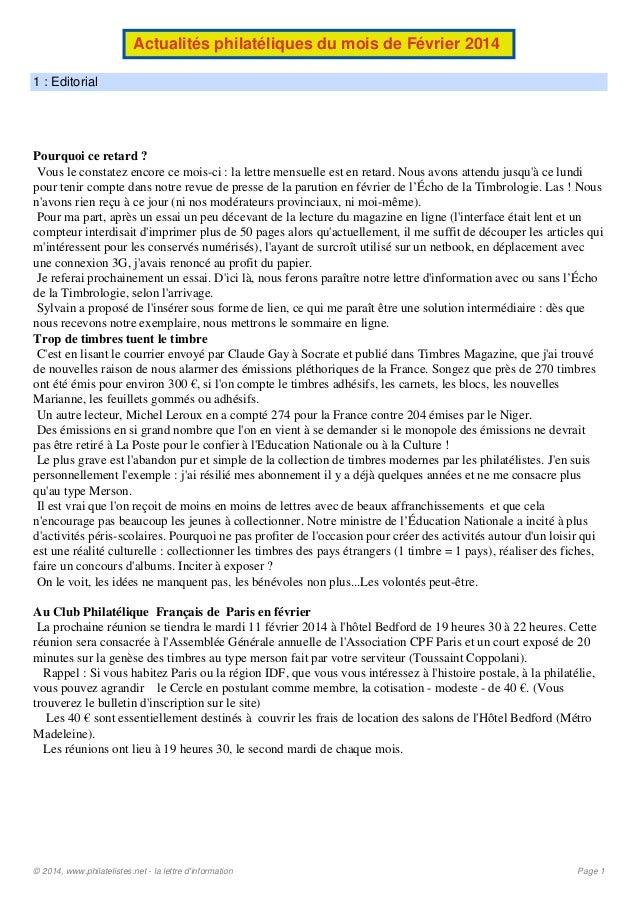 Actualités philatéliques du mois de Février 2014 1 : Editorial  Pourquoi ce retard ? Vous le constatez encore ce mois-ci :...
