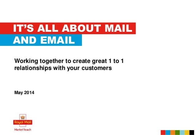 IT'S ALL ABOUT MAIL Working together to create great 1 to 1 relationships with your customers May 2014 AND EMAIL