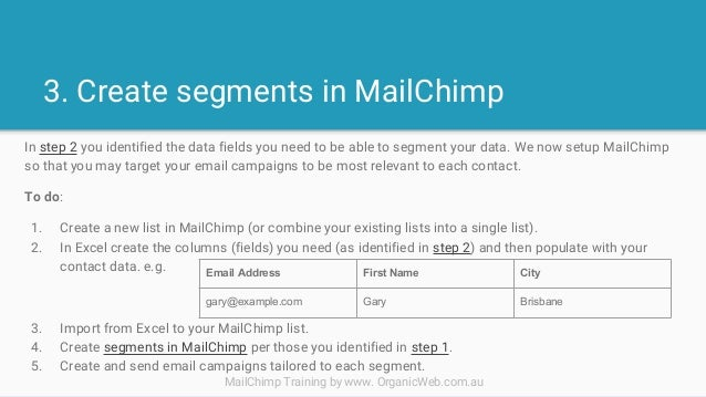 Threestep MailChimp Segmentation Worksheet – Step 2 Worksheet