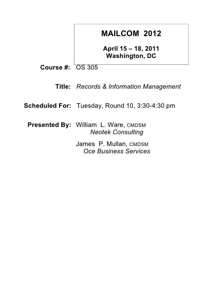 MAILCOM 2012                        April 15 – 18, 2011                         Washington, DC    Course #: OS 305        ...