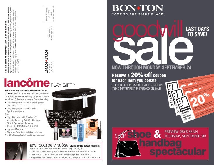 THE BON-TON STORES, INC.                                                     Spectacular Preview Days Thursday, September ...