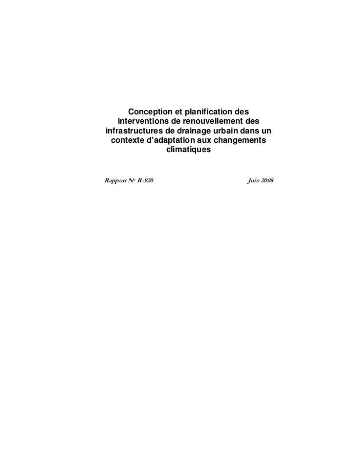 Conception et planification des     interventions de renouvellement des infrastructures de drainage urbain dans un   conte...