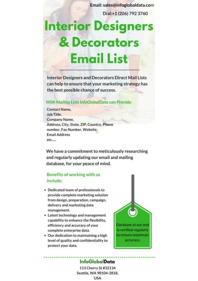 Interior designers and decorators email list for Interior design email