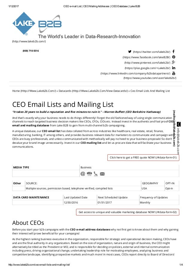 Mailing lists of ceo