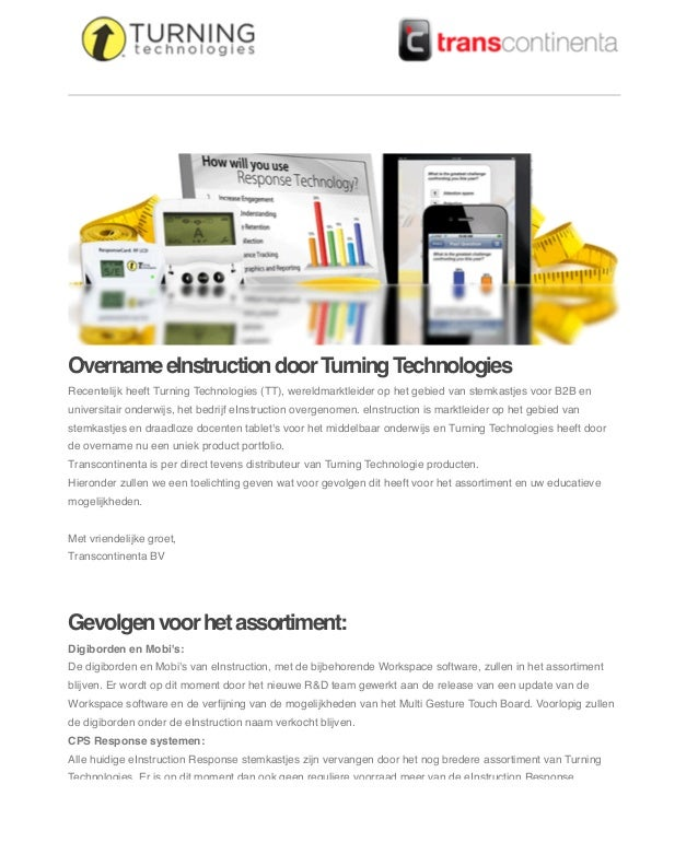 Van: Onderwerp: Datum: Aan:  Transcontinenta turningtech@transcontinenta.nl [Test] Overname eInstruction door Turning Tech...