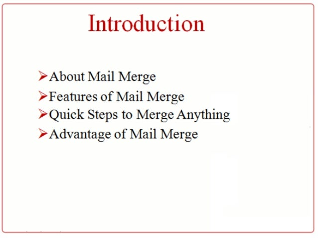 advantages of using mail merge