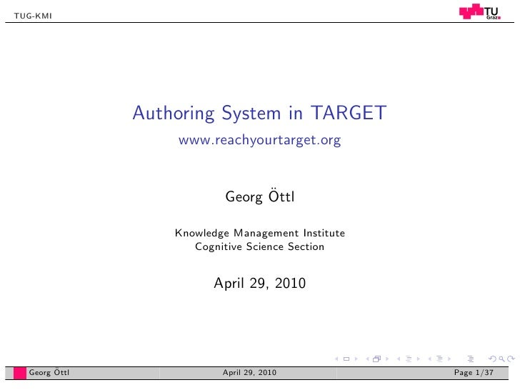 TUG-KMI                    Authoring System in TARGET                    www.reachyourtarget.org                          ...