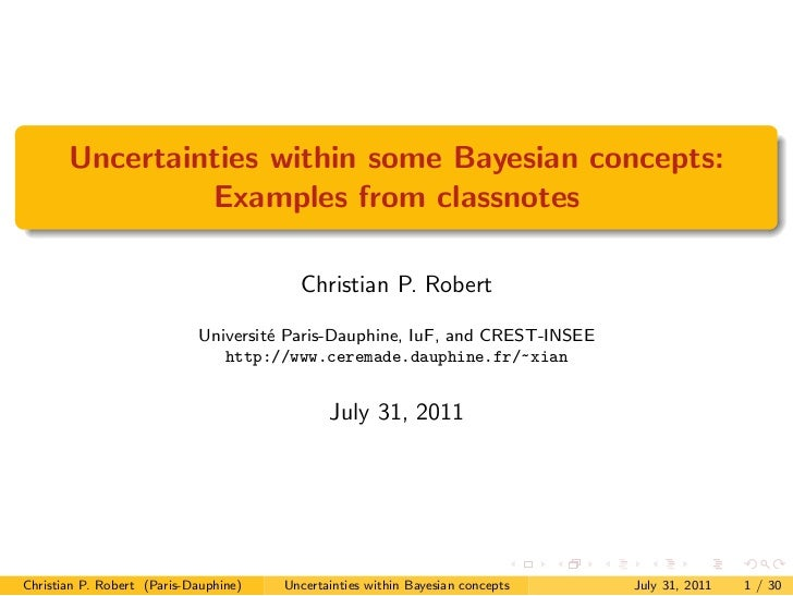 Uncertainties within some Bayesian concepts:                Examples from classnotes                                      ...