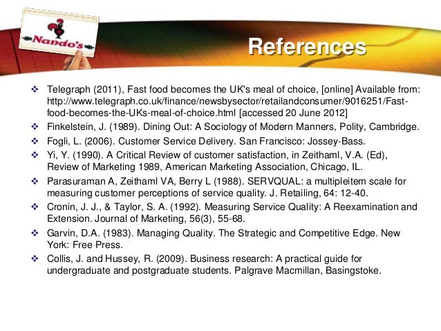 literature review on customer satisfaction in fast food Review of literature customer satisfaction customer satisfaction, a business term, is a measure of how products and services supplied by a company meet or surpass customer expectation.
