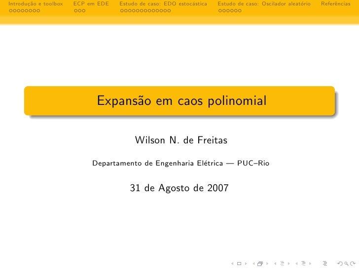 ca Introdu¸˜o e toolbox   ECP em EDE                            a                                     Estudo de caso: EDO ...