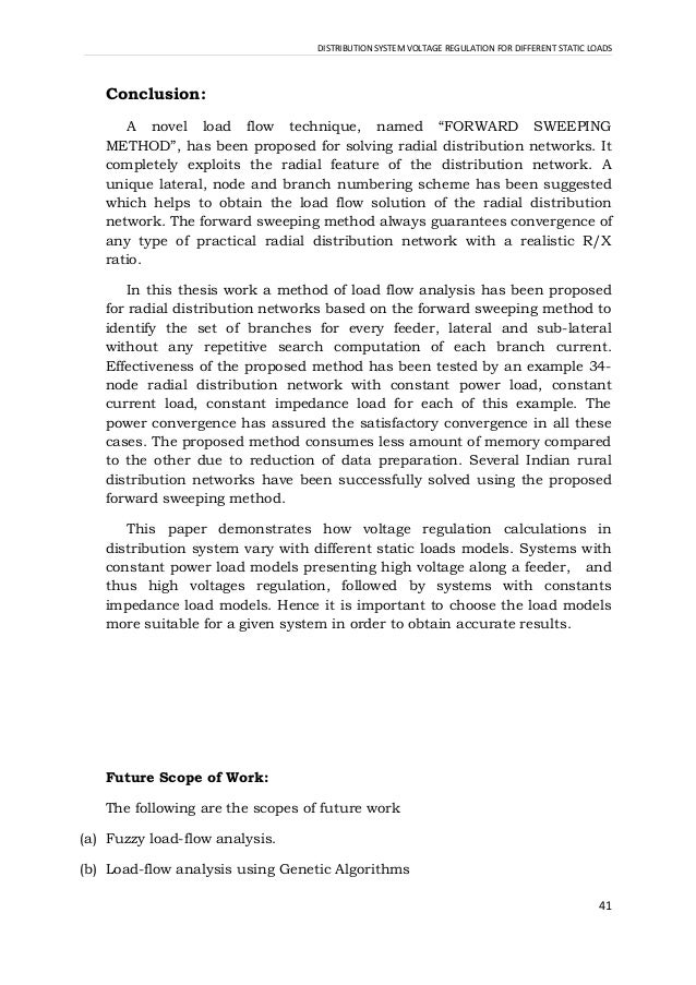 Forward sweeping method for radial distribution load flow analysis thesis