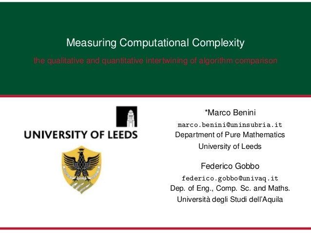 Measuring Computational Complexitythe qualitative and quantitative intertwining of algorithm comparison                   ...