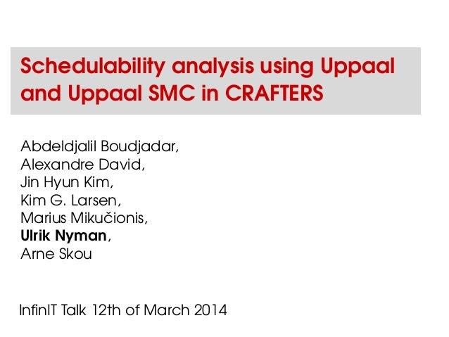 Schedulability analysis using Uppaal and Uppaal SMC in CRAFTERS Abdeldjalil Boudjadar, Alexandre David, Jin Hyun Kim, Kim ...