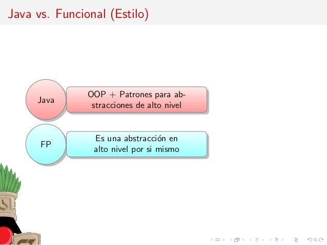 Java vs. Funcional (Estilo) Java OOP + Patrones para ab- stracciones de alto nivel FP Es una abstracci´on en alto nivel po...