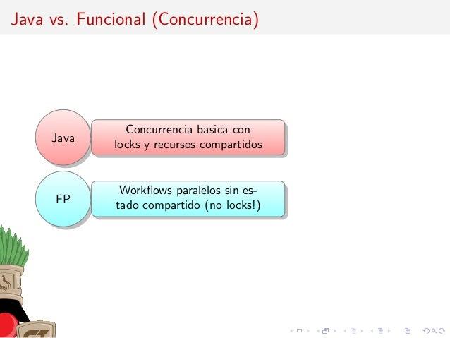 Java vs. Funcional (Concurrencia) Java Concurrencia basica con locks y recursos compartidos FP Workflows paralelos sin es- ...