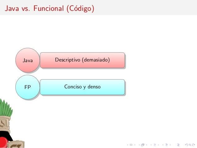 Java vs. Funcional (C´odigo) Java Descriptivo (demasiado) FP Conciso y denso