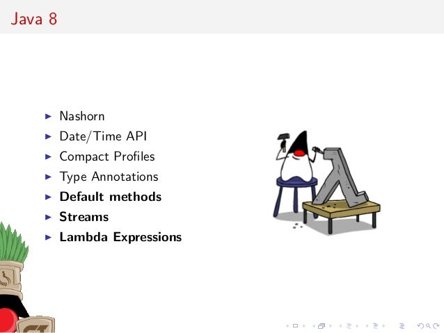 Java 8 Nashorn Date/Time API Compact Profiles Type Annotations Default methods Streams Lambda Expressions