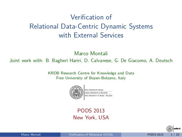 unibz.itunibz.it Verification of Relational Data-Centric Dynamic Systems with External Services Marco Montali Joint work wi...