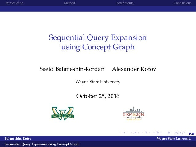 1/20 Introduction Method Experiments Conclusions Sequential Query Expansion using Concept Graph Saeid Balaneshin-kordan Al...