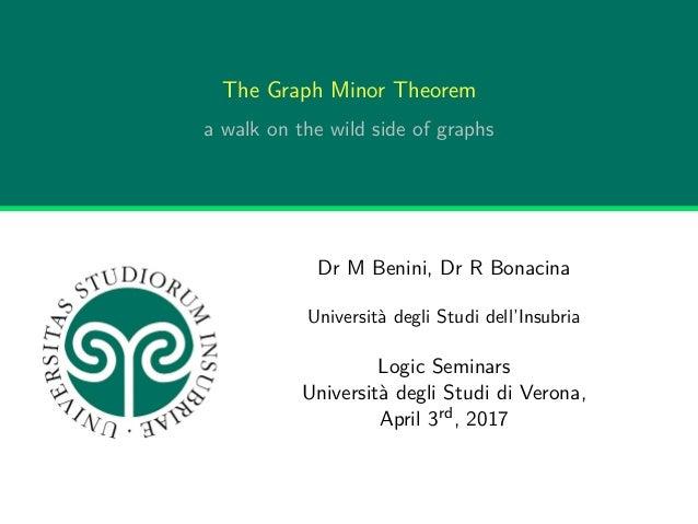 The Graph Minor Theorem a walk on the wild side of graphs Dr M Benini, Dr R Bonacina Università degli Studi dell'Insubria ...