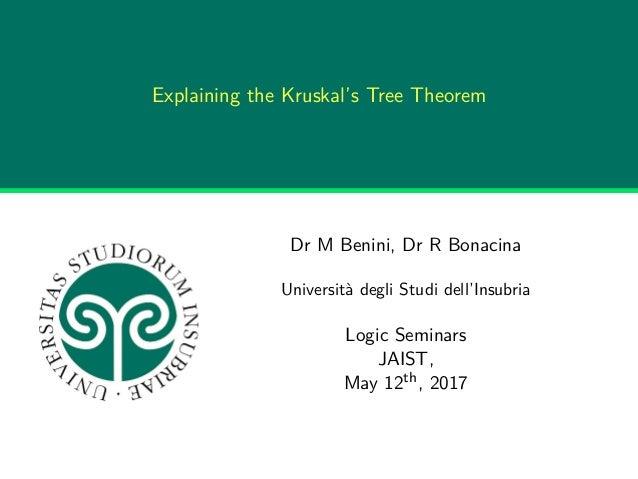 Explaining the Kruskal's Tree Theorem Dr M Benini, Dr R Bonacina Università degli Studi dell'Insubria Logic Seminars JAIST...