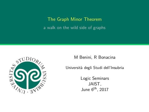The Graph Minor Theorem a walk on the wild side of graphs M Benini, R Bonacina Università degli Studi dell'Insubria Logic ...