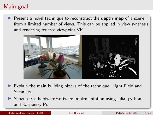 LightFields jl: Fast 3D image reconstruction for VR