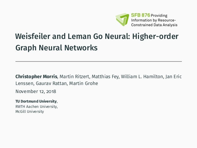 Weisfeiler and Leman Go Neural: Higher-order Graph Neural Networks Christopher Morris, Martin Ritzert, Matthias Fey, Willi...