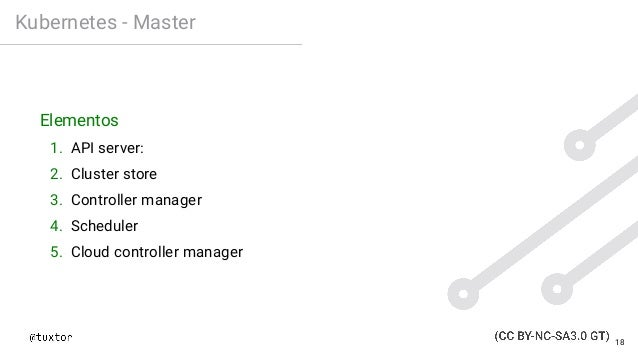 Kubernetes - Master Elementos 1. API server: 2. Cluster store 3. Controller manager 4. Scheduler 5. Cloud controller manag...