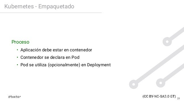 Kubernetes - Empaquetado Proceso • Aplicación debe estar en contenedor • Contenedor se declara en Pod • Pod se utiliza (op...