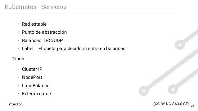 Kubernetes - Servicios • Red estable • Punto de abstracción • Balanceo TPC/UDP • Label = Etiqueta para decidir si entra en...