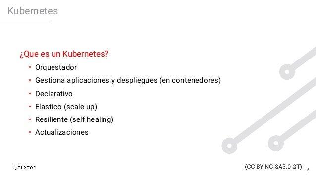 Kubernetes ¿Que es un Kubernetes? • Orquestador • Gestiona aplicaciones y despliegues (en contenedores) • Declarativo • El...