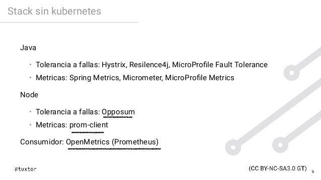 Stack sin kubernetes Java • Tolerancia a fallas: Hystrix, Resilence4j, MicroProfile Fault Tolerance • Metricas: Spring Metr...