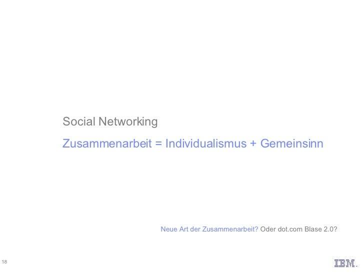 Social Networking Zusammenarbeit = Individualismus + Gemeinsinn Neue Art der Zusammenarbeit? Oder dot.com Blase 2.0?