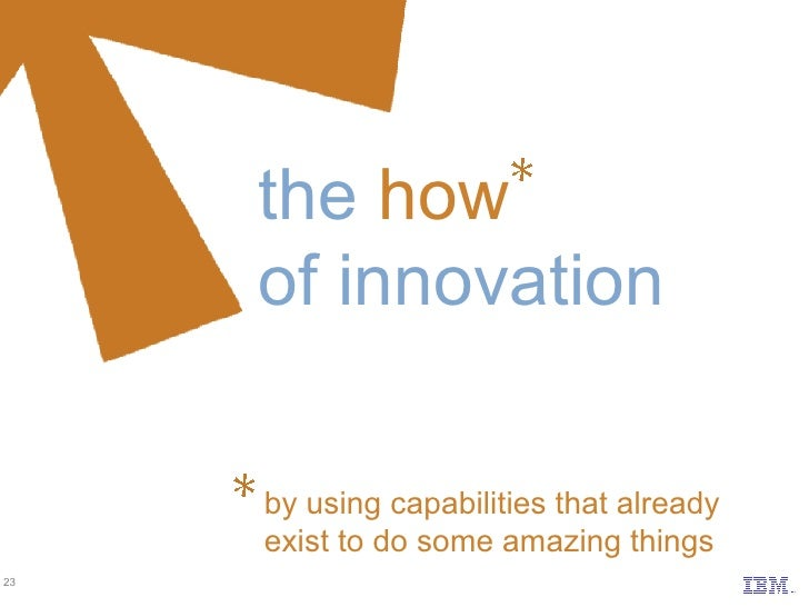 the   how of innovation by using capabilities that already  exist to do some amazing things