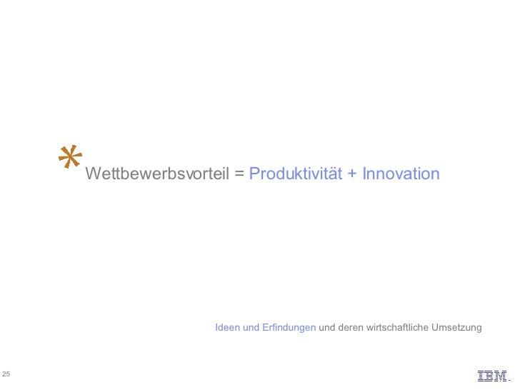 Wettbewerbsvorteil =  Produktivität + Innovation Ideen und Erfindungen und deren wirtschaftliche Umsetzung