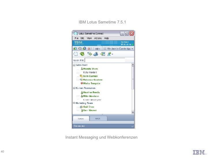 IBM Lotus Sametime 7.5.1 Instant Messaging und Webkonferenzen