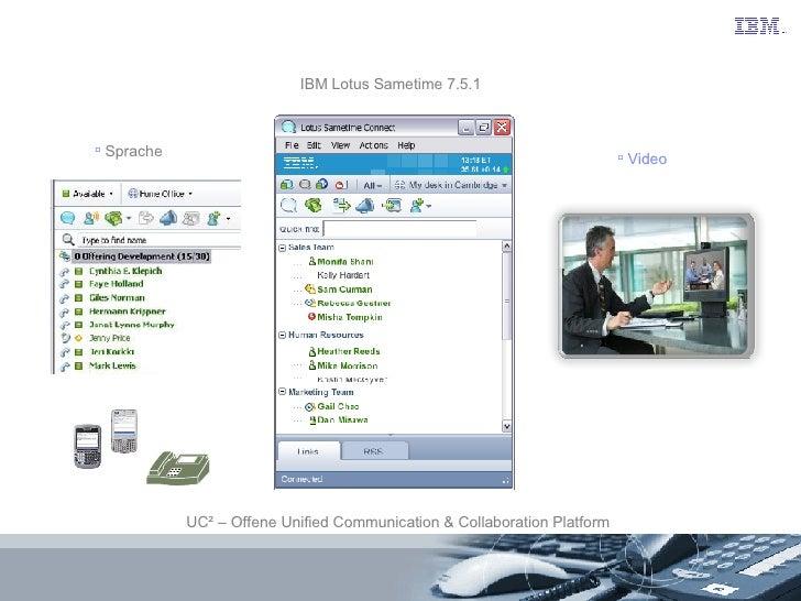 IBM Lotus Sametime 7.5.1 UC² – Offene Unified Communication & Collaboration Platform <ul><li>Sprache </li></ul><ul><li>Vid...