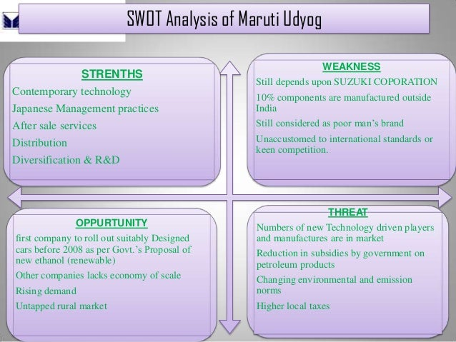 SWOT Analysis of Maruti Udyog STRENTHS Contemporary technology Japanese Management practices After sale services Distribut...