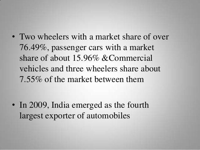 • Two wheelers with a market share of over 76.49%, passenger cars with a market share of about 15.96% &Commercial vehicles...