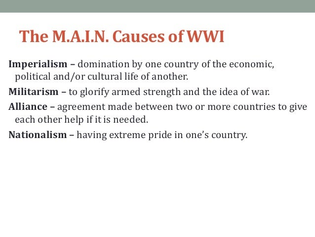 Main causes of wwi ppt