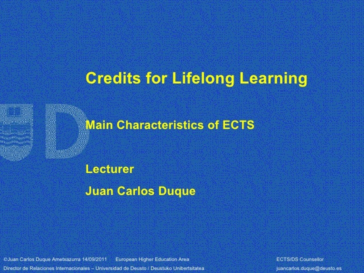 Credits for Lifelong Learning                                   Main Characteristics of ECTS                              ...