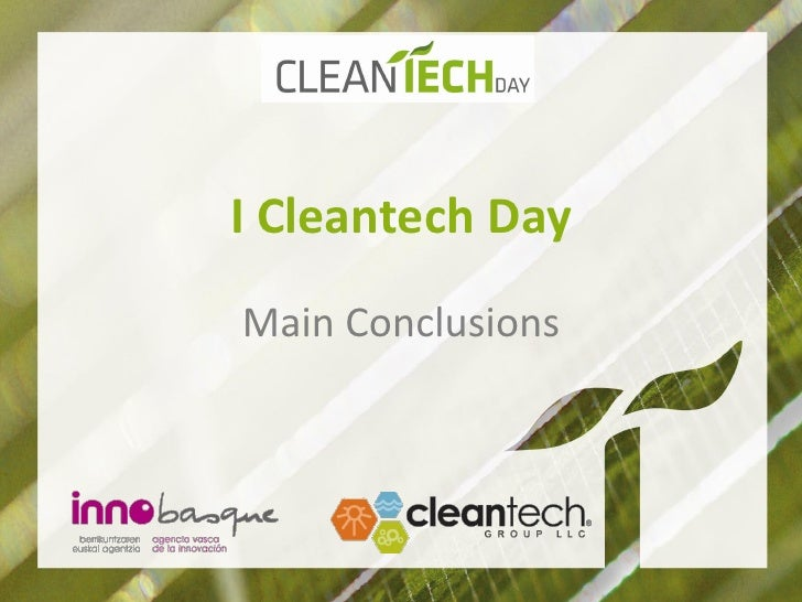 I Cleantech DayMain Conclusions