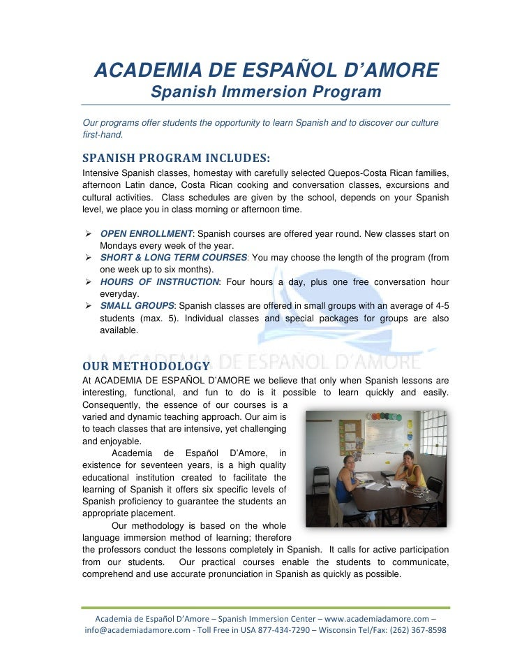 ACADEMIA DE ESPAÑOL D'AMORE                Spanish Immersion ProgramOur programs offer students the opportunity to learn S...