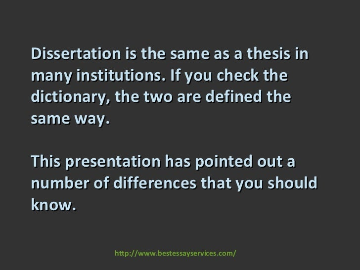 difference between dissertation and theses