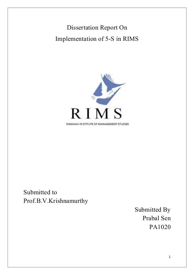 Dissertation Report OnImplementation of 5-S in RIMSSubmitted toProf.B.V.KrishnamurthySubmitted ByPrabal SenPA10201