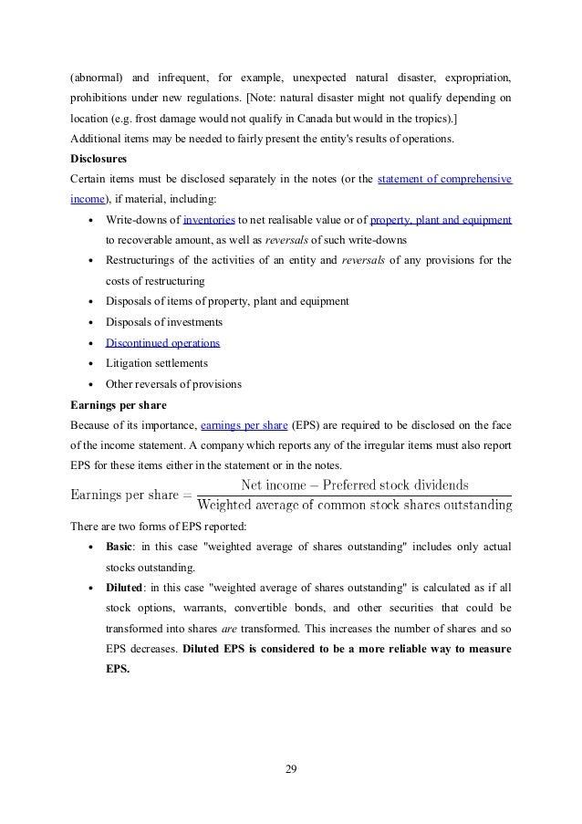 FINANCIAL STATEMENT ANALYSIS – Sample Statement Analysis