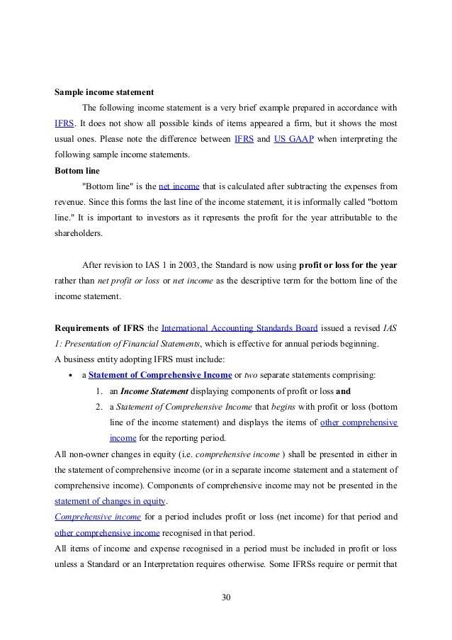 interim profit and loss statement