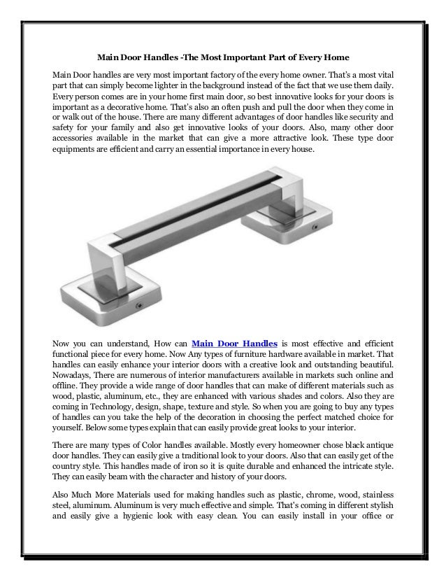 Main Door Handles -The Most Important Part of Every Home Main Door handles are very most important factory of the every ho...